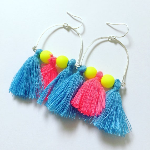 Frida Kahlo Inspired Large Neon Tassel Earrings - Boho - Festival - Gypsy -