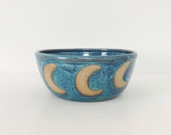 Ceramic Blue Moon Bowl, blue pottery bowl with crescent moon wheel thrown cereal bowl, stoneware ceramic bowl ice cream bowl