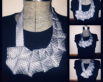 Silver gray and navy blue necktie ruffled bib necklace