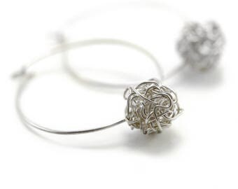 Signature Crocheted Wire Ball Hoop Earrings by Emunique Jewelry