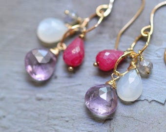 14kt Gold Garnet Earrings - Ruby Earrings - Amethyst Earrings - Mixed Stone Earrings - Dainty Earrings - Long Dangle Earrings
