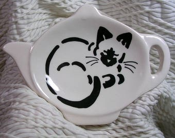 Tea Bag Holder Siamese Stencil Cat Design Handmade Clay by Gracie