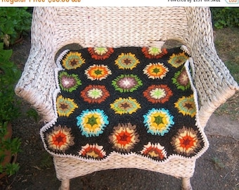 30% MOVING SALE Chunky 70s afghan / crochet granny squares / small lap throw 26x38