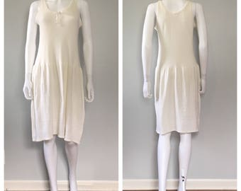 vintage 1930s cotton knit slip dress off white cotton and wool undergarments