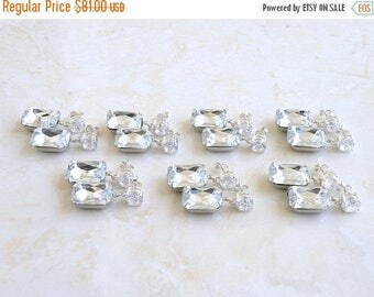 Summer Sale Earrings White Foiled Stone Rhinestone Silver Stud BEV7-3 Set of 3 pairs