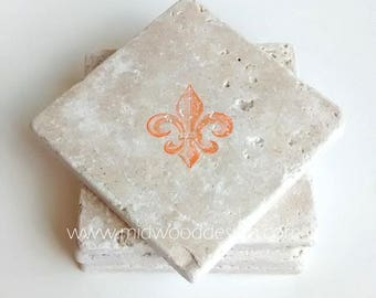 Fleur di lis stone tile coaster set of 4 - Choose your color