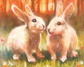 Original Oil Painting on panel of rabbits pet bunny bunnies in flower sunset landscape, animal fine art listed by artist American artwork