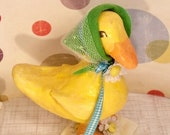 spring decor yellow duck easter decor duck art doll vintage retro inspired easter duck daisies yellow and green