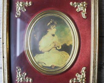 Vintage French Art Print, Little French Girl Print, Vintage Art, Vintage Framed Art, Vintage wall decor, framed print, gold frame, velvet