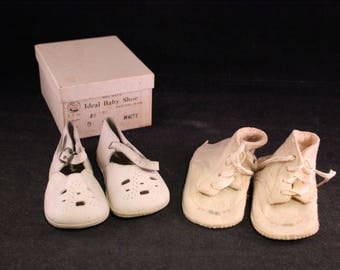 Two Pair of Vintage White Baby Shoes with Vintage Shoe Box