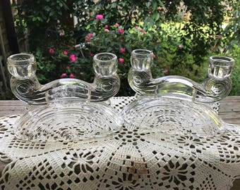Pair of Vintage Clear Glass Art Deco Style Candle Holders