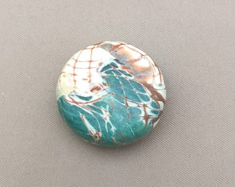 Handmade Polymer Clay Bead, lentil focal bead, mokume gane technique
