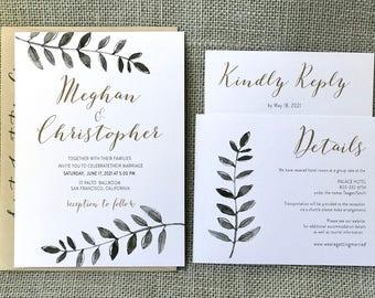 Modern Calligraphy Wedding Invitation, Modern Wedding Invitation Set, Greenery Wedding Invitations