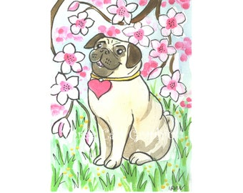 Hearted Pug with Cherry Blossoms - Choose from ACEO Print, Note Cards, or Art Print