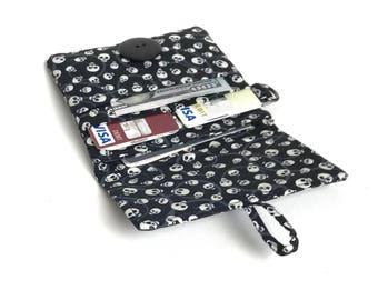 slim card organizer. womens small minimalist wallet. cloth cotton fabric material vegan handmade simple little wristlet