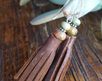 Leather Tassel Earrings - Turquoise - Unakite - Sterling Silver -Rustic Earrings - Cowgirl Jewelry - Western Jewelry - Boho