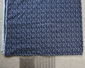 Blue/gray/silver/taupe/black cotton stretch fabric