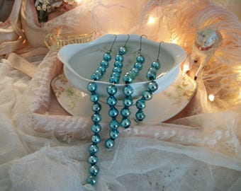 27 mercury glass bead drop ornaments, soft pretty aqua turquoise color, time worn patina of age, large size beads, various lengths