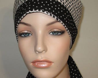 Scrub Cap FREE Ship Chemo Hat Black White Dots OR Cap Nurses Cap Surgical Cap Free Ship USA Adjustable Chemo Hat