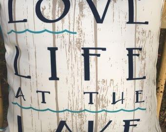 "Love Life at the Lake lakehouse pillow faux wood grain with aqua geometric print back 16""X16"""