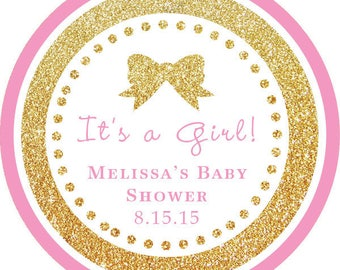 DIY Printable File- It's a Girl! Gold Glitter Pink round sticker label/ thank you tags -AVERY LABEL 22807