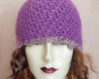 CLEARANCE - Purple hat, wool blend hat,  winter accessory
