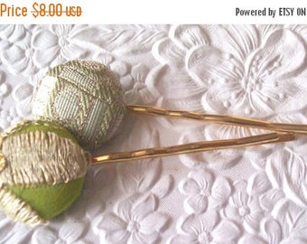 CLEARANCE - 2 green hair-pins, embroidered hairpins, fabric hairpins, hair accessory, womens accessory