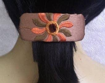 CLEARANCE - Orange green barrette, floral fabric barrette, hair accessory, fashion accessory