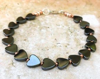 Heart Bracelet - Love Bracelet - Heart Jewelry - Hematite Bracelet - Copper Bracelet - Valentines Day - Gift for her - Gift for Girlfriend