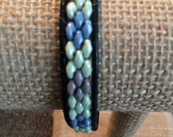 Black Leather Wrap Bracelet, Boho Leather Bracelet, Beaded Leather Single Wrap Bracelet