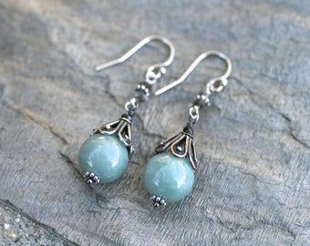 Burmese Jade, Herkimer Diamond Gemstone Sterling Silver Earrings, Genuine Jade Earrings, Burma Jade Jewelry, Green Jade Earrings