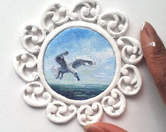 """Mini Oil Painting Seagull Hunting Seascape with Handmade Frame 2.5"""" READY to SHIP"""