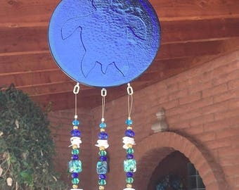 ON SALE Windchime Sea Turtle Blue Stained Glass