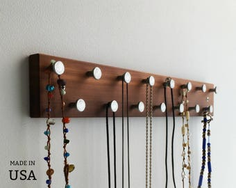 Jewelry Wall Rack, Jewelry Organizer, Wall Organizer, Jewelry Display Bar, Minimalist Modern, Dark Wood, and Metal Pegs, Wall Mount
