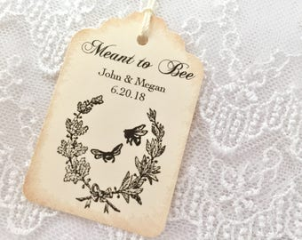 Meant to Bee Tags, Bee Wedding Tags, Personalized Honey Tags Set of 10