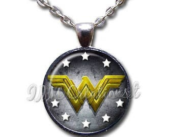 20% OFF - Wonder Woman Modern Symbol Glass Dome Pendant or with Chain Link Necklace FT129