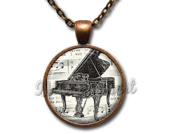 Music Lover Piano and Notes Glass Dome Pendant or with Chain Link Necklace PR111