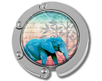 NEW just for this holiday season!! Foldable Bag Purse Hook - Sacred Blue Elephant FHK105