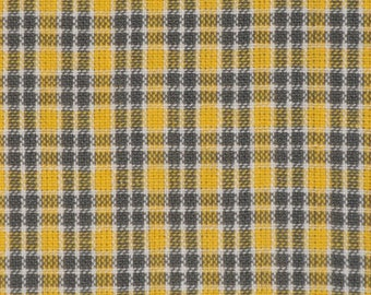 Homespun Fabric | Sewing Fabric | Cotton Fabric | Quilt Fabric | Small Plaid Fabric | Yellow White Grey And Charcoal | 26 x 44