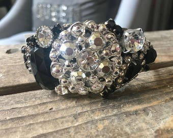 Flash Silver Rhinestone Black Vintage Jewelry Assemblage Collage Cuff Bracelet
