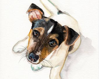SPECIAL 8 x 10 inch for 149 dollars free shipping Original Custom Commission WATERCOLOR portrait pet painting by Redstreake