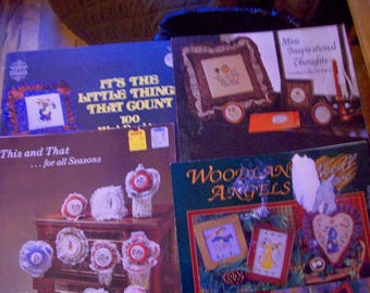 Four vintage Counted Cross Stitch booklets angels, inspirational, seasons and more.