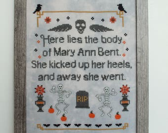 Halloween Sampler, Cross Stitch Chart, Headstone Quote, Primitive Halloween, Dancing Skeletons, Haunted Graveyard, pdf chart,