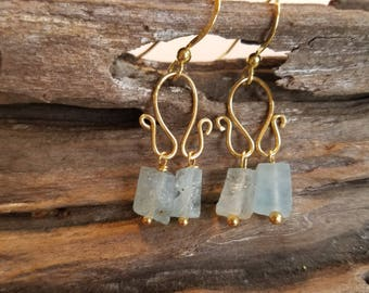 Aquamarine Cubed Earrings Gold Swirl Earring Drop