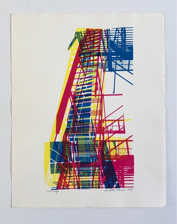 1969 Abstract Silkscreen Print by Annette Okuer