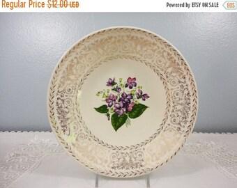 Memorial Day Sale Vintage Bowl with Violets & Gilt Filigree