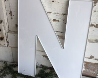 Vintage Sign Letter N Outdoor Weathered Sign Letter White Plastic Large Monogram