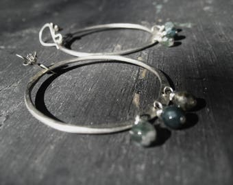 The Weather - Sterling Silver Hoops Wildflower Wires Moss Agate Dangles Jane Plain Urban Gypsy Talisman Earrings