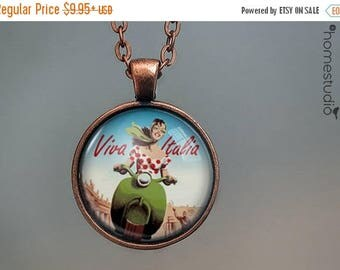 ON SALE - Viva Italia : Glass Dome Necklace, Pendant or Keychain Key Ring. Gift Present metal round art photo jewelry by HomeStudio