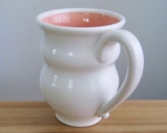 Pink Pottery Coffee Mug, Large Stoneware Coral Cup 14 oz. Handmade Ceramic Mug, Pot Belly Beer Mug